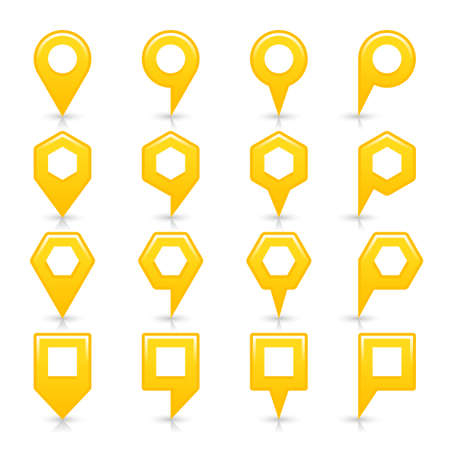 Flat yellow color map pin sign location icon with gray shadow and reflection isolated on white background. Web design element save in vector illustration 8 eps Illustration