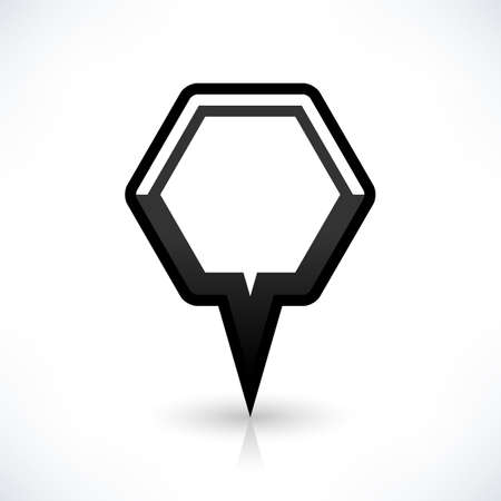 Blank map pin location sign rounded hexagon icon in flat style. Empty black shapes with gray oval shadow and reflection on white background. Web design element saved in vector illustration 8 eps Illustration