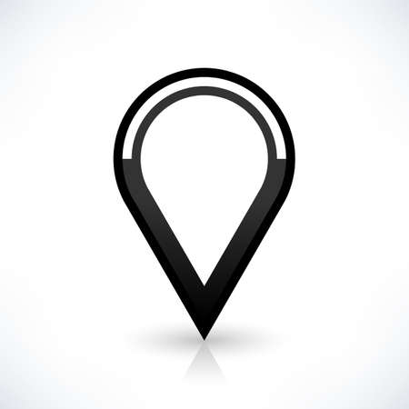gray gradient reflection: Map pin location sign circle icon in flat style. Simple black shapes with gray gradient oval shadow and reflection isolated on white background. Web design element save in vector illustration 8 eps
