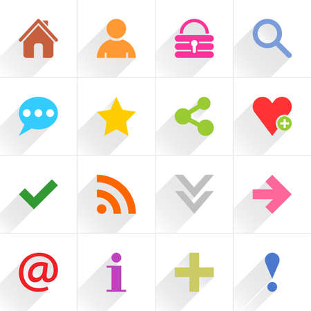 16 basic sign flat icon with gray long shadow. Blue, green, pink, orange, brown, yellow, violet, purple, red, cobalt, magenta signs on white background Vector illustration web internet element