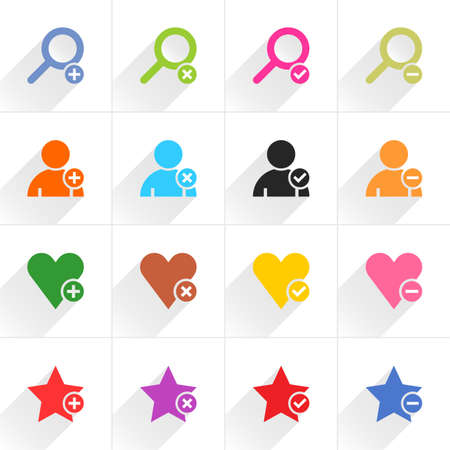 additional: 16 additional sign flat icon with gray long shadow. Blue, green, pink, orange, brown, yellow, violet, purple, red, cobalt, magenta signs on white background Vector illustration web internet Illustration
