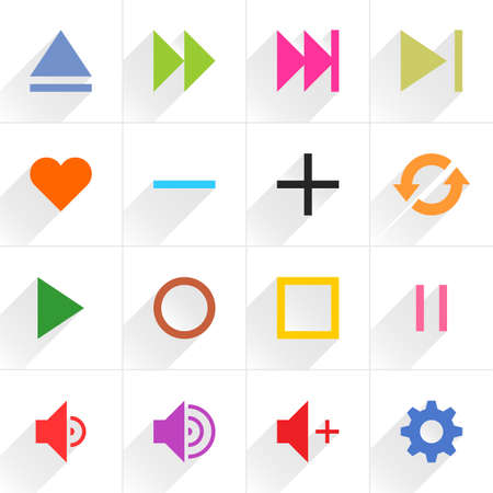 16 media control sign flat icon with gray long shadow. Blue, green, pink, orange, brown, yellow, violet, purple, red, cobalt, magenta signs on white background Vector illustration element 8 eps