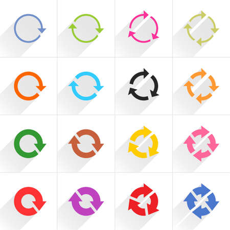 16 arrow flat icon with gray long shadow. Blue, green, pink, orange, brown, yellow, violet, purple, red, cobalt, magenta signs on white background. Vector illustration web design element in 8 eps Illustration