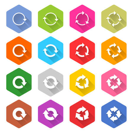 synchronize: Flat arrow icon 16 set rounded hexagon web button on white background. Refresh, reload, synchronize, loop, reset, rotation, repeat sugn. Vector illustration internet design graphic element 10 eps