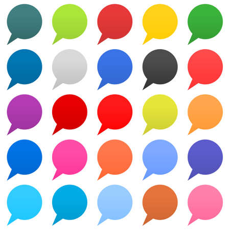 Flat 25 speech bubble sign web icon circle shape on white background. Empty buttons in popular soft colors. Newest simple modern minimal metro style. Internet design element vector illustration 8 eps Illustration