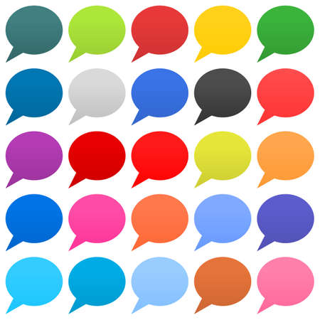 Flat 25 speech bubble sign web icon circle shape on white background. Empty buttons in popular soft colors. Newest simple modern minimal metro style. Internet design element vector illustration 8 eps Stock Photo