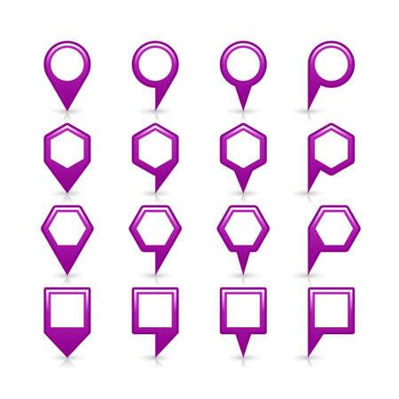 Flat couleur pourpre emplacement carte signe broche icône avec ombre grise et de réflexion isolé sur fond blanc. Web design element sauf illustration vectorielle 8 eps Illustration