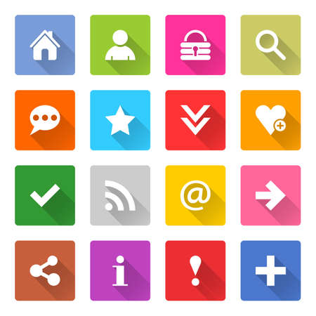 chat room: Flat basic icon 16 set rounded square web button on white background. Simple minimalistic mono long shadow style. Vector illustration internet design graphic element 10 eps