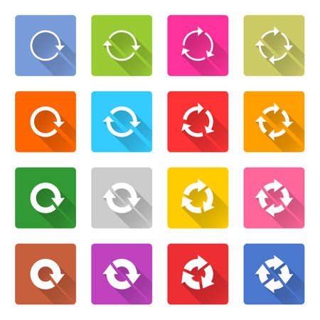 synchronize: Flat arrow icon 16 set rounded square web button on white background. Refresh, reload, synchronize, loop, reset, rotation, repeat sugn. Vector illustration internet design graphic element 10 eps