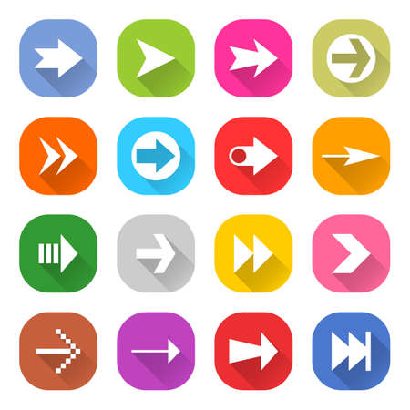 quadrate pictogram: Flat arrow icon 16 set rounded square web button on white background. Simple minimalistic mono long shadow style. Vector illustration internet design graphic element 10 eps