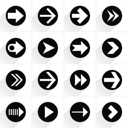 tidy: 16 arrow flat icon with gray long shadow. Black sign on white background. Tidy, clean, simple, minimal, solid, plain style. Vector illustration web internet design element save in 8 eps