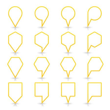 Yellow map pin sign location icon with gray shadow and reflection on white background in simple flat style. This web design element save in vector illustration 8 eps Illustration