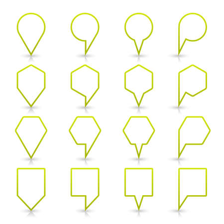 Green map pin sign location icon with gray shadow and reflection on white background in simple flat style. This web design element save in vector illustration 8 eps