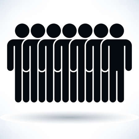 demos: Black seven people man figure with gray drop shadow isolated on white background in flat style. Graphic design elements save in vector illustration 8 eps Illustration
