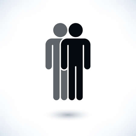demos: Black two people man figure with gray drop shadow isolated on white background in flat style. Graphic design elements save in vector illustration 8 eps Illustration