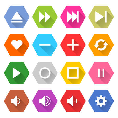 Flat media icon 16 set rounded hexagon web button on white background. Simple minimalistic mono long shadow style. Vector illustration internet design graphic element 10 eps Illustration