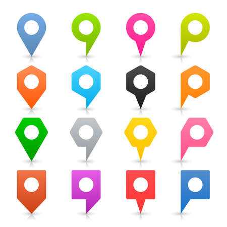 Color empty map pin sign location icon with white circle blank space and gray shadow, reflection on white background in simple flat style. Web design element in vector illustration 8 eps Illustration