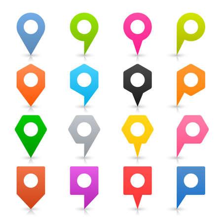 Icône de localisation de couleur carte vide broche signe avec espace blanc cercle blanc et ombre grise, réflexion sur fond blanc dans un style plat simple. Élément de conception Web en illustration vectorielle 8 eps
