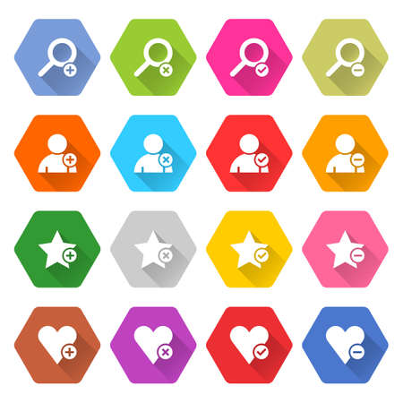 exclusion: Flat addition icon 16 set rounded hexagon web button on white background. Simple minimalistic mono long shadow style. Vector illustration internet design graphic element 10 eps Illustration