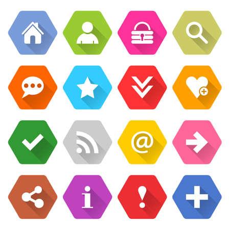 Flat basic icon 16 set rounded hexagon web button on white background. Simple minimalistic mono long shadow style. Vector illustration internet design graphic element 10 eps Illustration