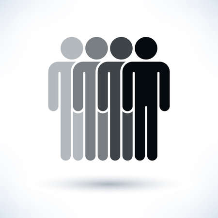 four people: Black four people man figure with gray drop shadow isolated on white background in flat style. Graphic design elements save in vector illustration 8 eps