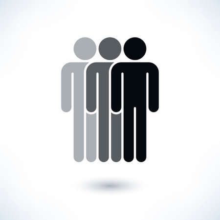 demos: Black three people man figure with gray drop shadow isolated on white background in flat style. Graphic design elements save in vector illustration 8 eps Stock Photo