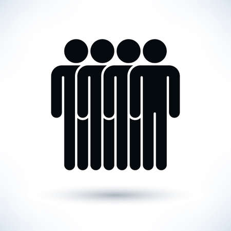 demos: Black four people man figure with gray drop shadow isolated on white background in flat style. Graphic design elements save in vector illustration 8 eps