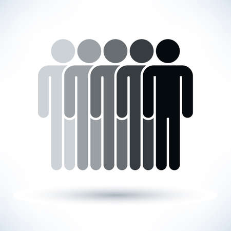 demos: Black five people man figure with gray drop shadow isolated on white background in flat style. Graphic design elements save in vector illustration 8 eps Stock Photo
