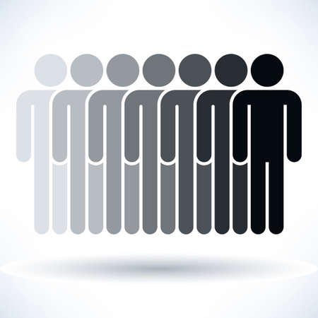 demos: Black seven people man figure with gray drop shadow isolated on white background in flat style. Graphic design elements save in vector illustration 8 eps Stock Photo