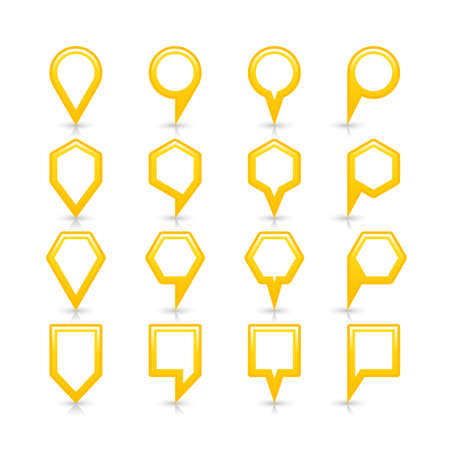 Flat yellow color map pin sign location icon with gray shadow and reflection isolated on white background. Web design element save in vector illustration 8 eps Stock Photo