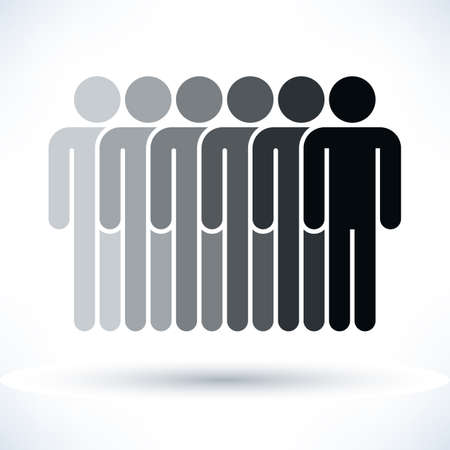 demos: Black six people man figure with gray drop shadow isolated on white background in flat style. Graphic design elements save in vector illustration 8 eps Stock Photo