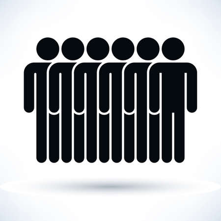 demos: Black six people man figure with gray drop shadow isolated on white background in flat style. Graphic design elements save in vector illustration 8 eps Illustration
