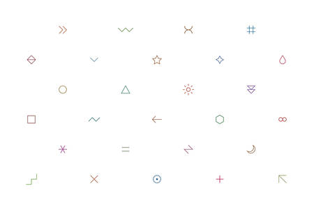 violet red: Geometric pattern with different simple signs in thin style. Light white horizontal background. Yellow, orange, red, brown, green, blue, purple, violet colors. Web design element in vector 8 EPS