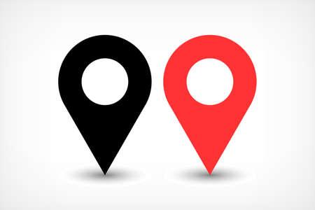 フラットシンプルなスタイルで楕円灰色のグラデーションの影付きのピン記号の位置アイコンをマップします。白の背景に分離された黒と赤の丸み