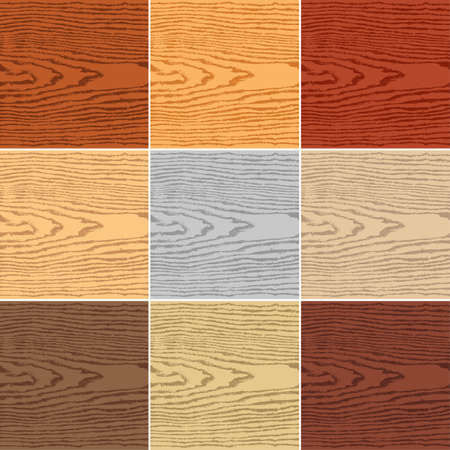 plywood: 9 colors wood texture background. Blank natural pattern swatch template Vector illustration design elements 8 eps Illustration