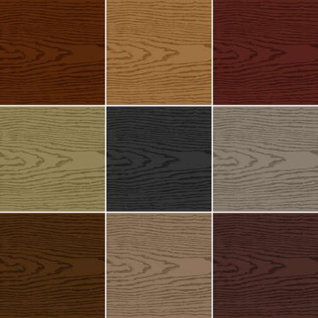 floorboards: 9 colors wood texture background. Set 04 Empty realistic plank with annual years circles. Blank natural pattern swatch template Vector illustration design elements 10 eps