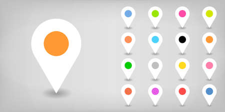 Map pin sign location icon with drop shadow in flat style. White, black, blue, cobalt, yellow, green, red, magenta, orange, pink, violet, purple, gray brown shapes on gray background Vector 8 EPS Illustration