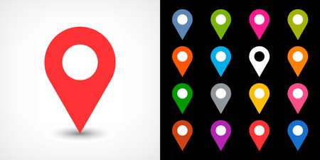Map pin sign location icon with drop shadow in flat simple style. White, blue, cobalt, yellow, green, red, magenta, orange, pink, violet, purple, gray, brown shapes on black background Vector 8 EPS