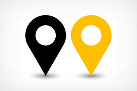 Map pin sign location icon with ellipse gray gradient shadow in flat simple style. Black and yellow color rounded shapes isolated on white background. Vector illustration web design element 8 EPS Illustration
