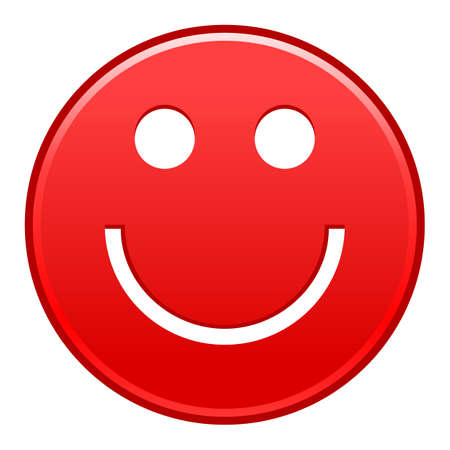 Red smiling face cheerful smiley happy emoticon Vector illustration Illusztráció