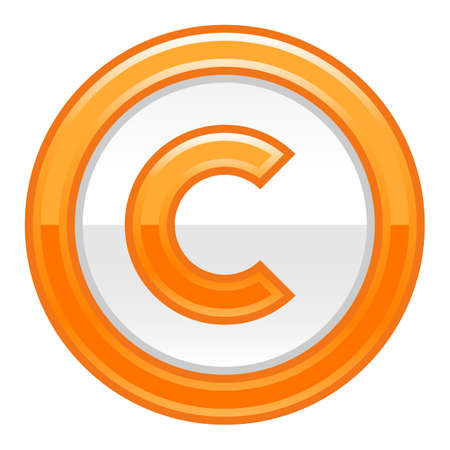 The copyright symbol in orange rounded glossy button web internet icon Vector illustration Illustration