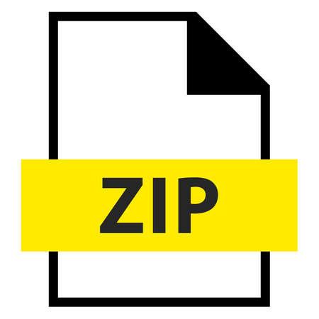 파일 이름 확장 아이콘 플랫 스타일 벡터 일러스트 레이 션에서 ZIP 아카이브 파일 형식