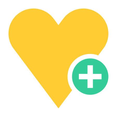 addendum: Flat heart icon with plus pictogram Vector illustration