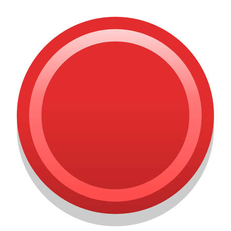 Red empty icon in flat style. Colored satin, simple, soft circle button with dark shadow Vector illustration