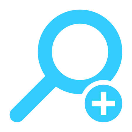 Flat magnifier icon or loupe button with plus sign Vector illustration Illustration