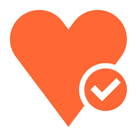 Flat heart icon button with a check mark vector illustration Illustration