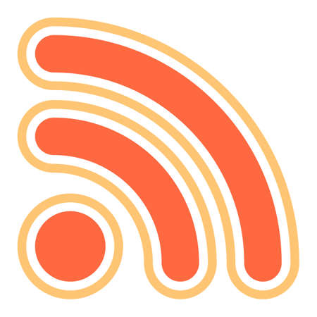 Flat Wi-Fi signal or RSS icon Really Simple Syndication sign subscribe button Vector illustration