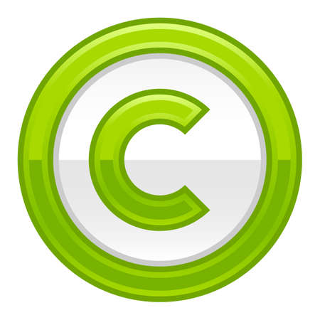 The copyright symbol in green rounded glossy button web internet icon Vector illustration