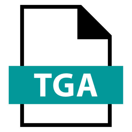 Use it in all your designs. Filename extension icon TGA Truevision Graphics Adapter in flat style. Quick and easy recolorable shape. Vector illustration a graphic element.