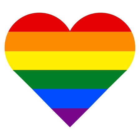 rectangle: Rainbow pride flag LGBT movement in a heart shape Vector illustration